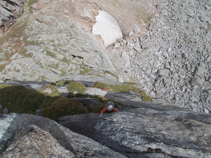 Rock Climbing Photo: Looking down P7, also entire route from topout.
