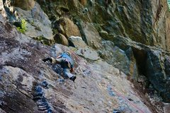 Rock Climbing Photo: My dad climbs Cold Feet clean in approach shoes, n...