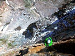 Rock Climbing Photo: Eli following up P2 of Pervertical Sanctuary.