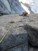 Rock Climbing Photo: Me following the splitter cracks of the Girth Pill...