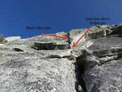 Rock Climbing Photo: Looking up at the 5th pitch crux. You can get a sm...