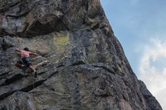 Rock Climbing Photo: Gabriel on Charlie and the Stick Factory (5.10d) a...