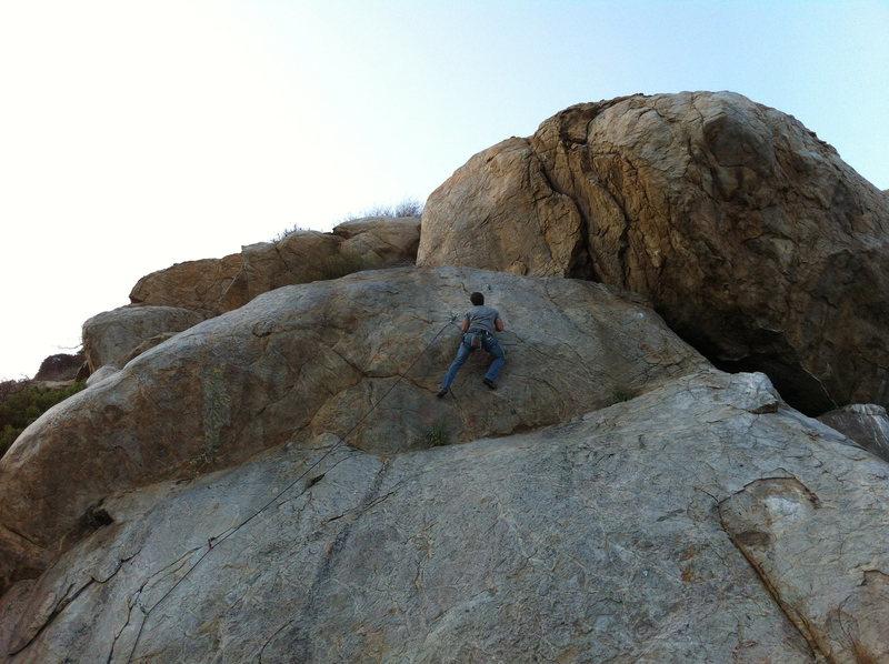 Rock Climbing Photo: Nathan Sharpe approaching the bouldery v3 crux.