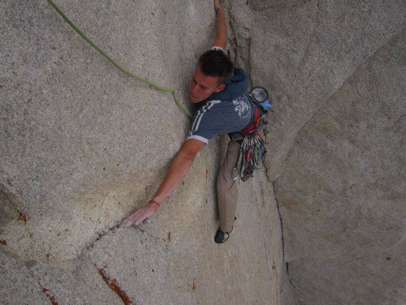 """The last move of pitch 7. It's a bit dyno for those under 5'9""""."""