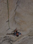 Rock Climbing Photo: Nearly blank pitch 5 packs a lot of difficulty int...