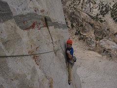 Rock Climbing Photo: Luke enjoying the last few moves of pitch 5.