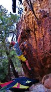 Rock Climbing Photo: Through the rough, working the remainder of Fiddle...
