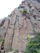 Rock Climbing Photo: That's Troy at the top of the route putting in the...