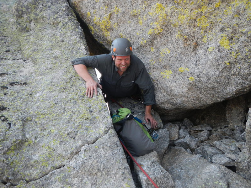 Rock Climbing Photo: Shaun squeezing through the birthing hole after th...