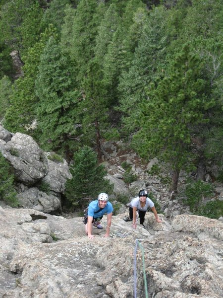 Looking down the 1st pitch.  Tyler and Katie enjoying their very first pitch of climbing.