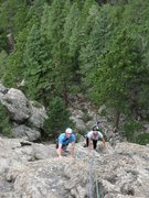 Rock Climbing Photo: Looking down the 1st pitch.  Tyler and Katie enjoy...