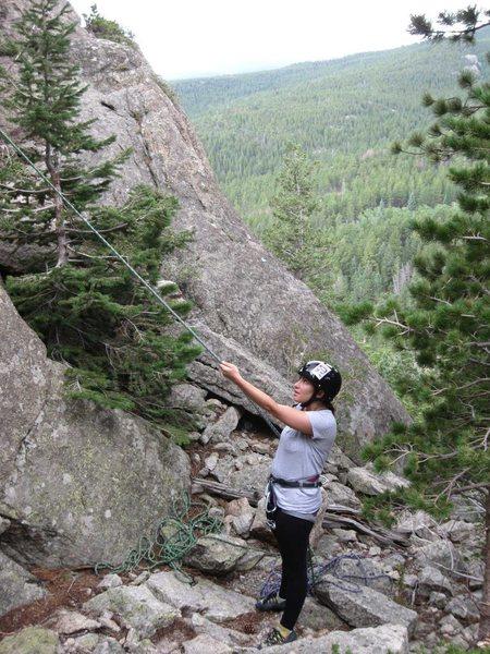 Rock Climbing Photo: Katie, keeping an eye on Tyler.