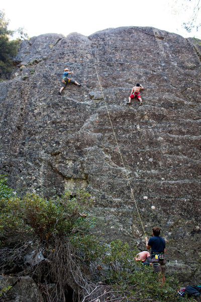 Rock Climbing Photo: Me leading Duppy Conquer (right).