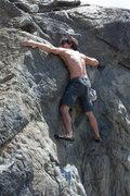 Rock Climbing Photo: Gabriel working the crux. Three bolt anchor above ...