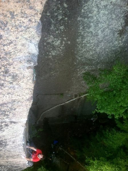Rock Climbing Photo: Low down on the arete.