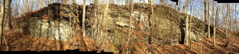 Photo isn't so good as it needed to be a panoramic shot to fit the entire boulder.
