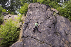 Rock Climbing Photo: Clipping the 3rd bolt.