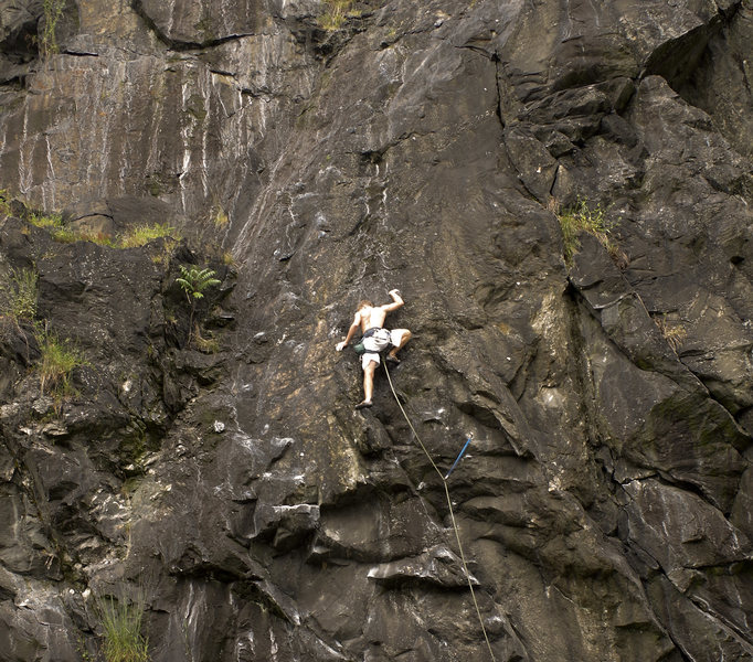 Rock Climbing Photo: Scottish Nick just past the hard part on Wild Palm...