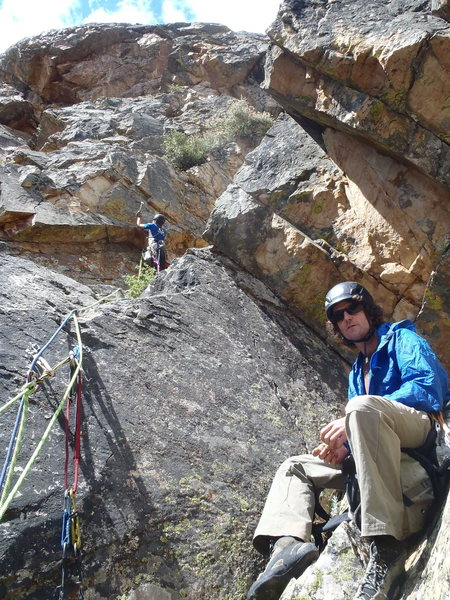 Rock Climbing Photo: Trout Man chilling while I try to find the way for...