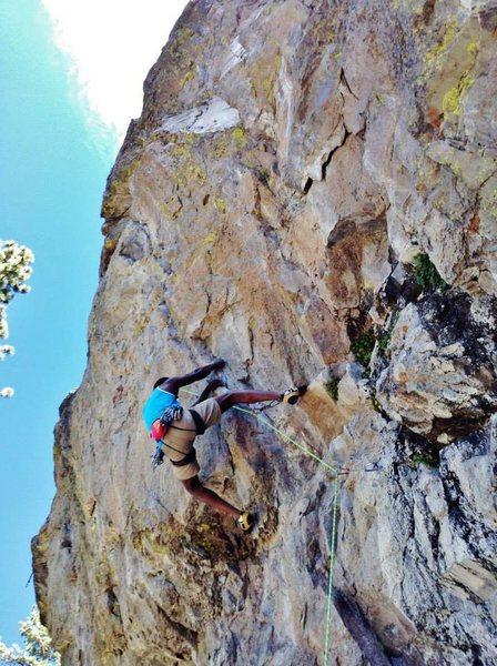 Rock Climbing Photo: Starting the crux on Raindance (5.12a), Center wal...