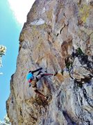Rock Climbing Photo: Starting the crux on Raindance (5.12a), Center wal...