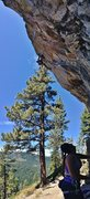 Rock Climbing Photo: Up high on Raindance (5.12a), Center wall, Big Chi...