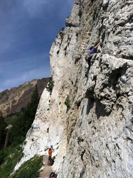 Jordan above the first overhang.