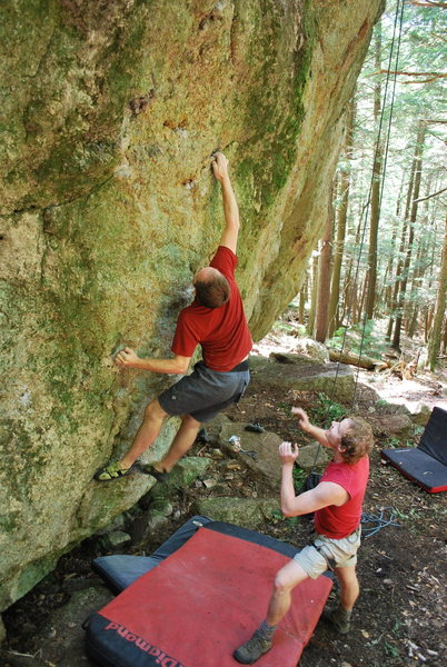 Rock Climbing Photo: Ladd Raine sticking the crux move on Trillium