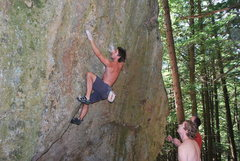 Rock Climbing Photo: Just past the crux, rolling to the cool crystal ho...