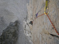 Rock Climbing Photo: Looking down the splitter pitch. So good! Photo by...