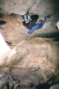 Rock Climbing Photo: Terry Ayres moving across the roof.