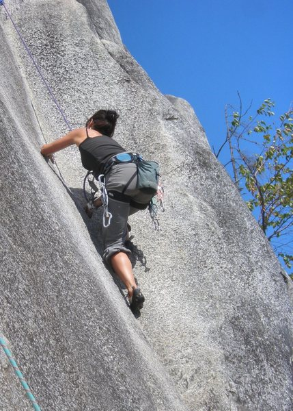 Basque climber Saioa  near one of two lower cruxes  on Penny Lane