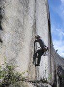 Rock Climbing Photo: Visiting Basque climber Joaquin starts up Split Be...