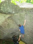 Rock Climbing Photo: Left side of the Steve boulder.  Sam is on Uno Smi...