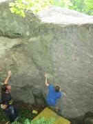 Rock Climbing Photo: Sam on the FA and Doug Madara spotting
