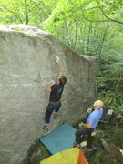 Rock Climbing Photo: Float is at the right end of the boulder 8 ft righ...