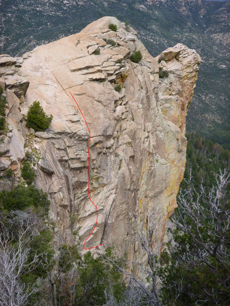Rock Climbing Photo: Pitch 2 shown in red
