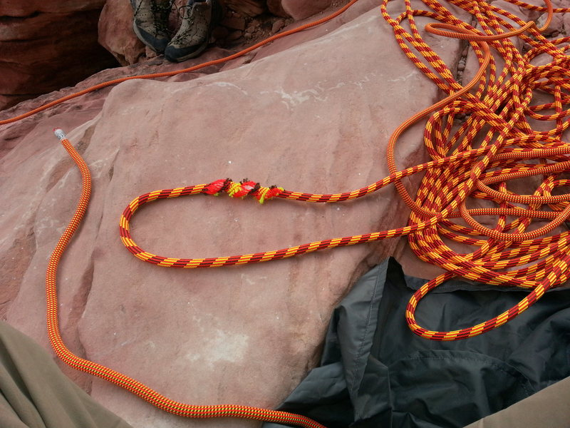 Rock Climbing Photo: Notice how shiny new the rope is.