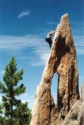 Judy on Gossamer near Mount Rushmore. Even Grandmas can climb