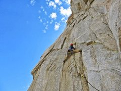 Rock Climbing Photo: Luke on the crux 3rd pitch of Solar Burn. Adam She...