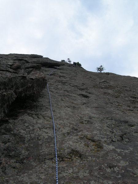 Rock Climbing Photo: Deb up near the crux, P2.
