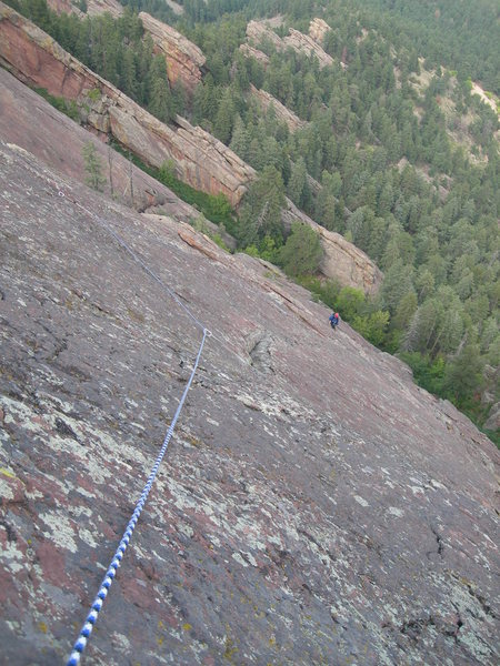 Rock Climbing Photo: Deb near the start of P3.