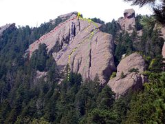 Rock Climbing Photo: East Face routes:  A. East Face Left - red. B. Cat...