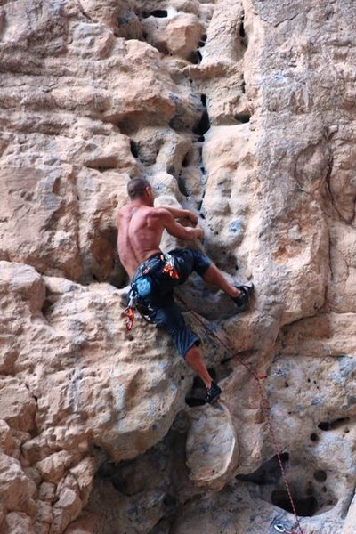 Rock Climbing Photo: Brian on the Crux First Ascent.
