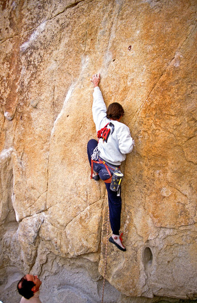 MIke Lechlinski on Burning Bush with the illustrious Dr. Dick Shockley belaying.  Mid 80's