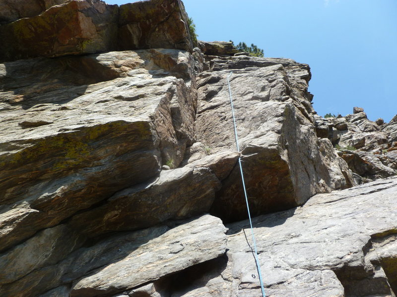 Rock Climbing Photo: The route is to the left of the rope in the dihedr...