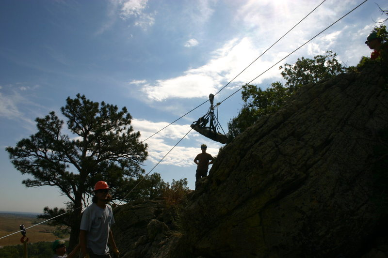 Dual highlines for moving rock to the work site.