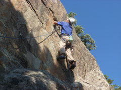 Rock Climbing Photo: At the 4th bolt in the 5.10 section of the route.