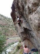 Rock Climbing Photo: Ted onsights Rainy Day 12A on a rainy day.