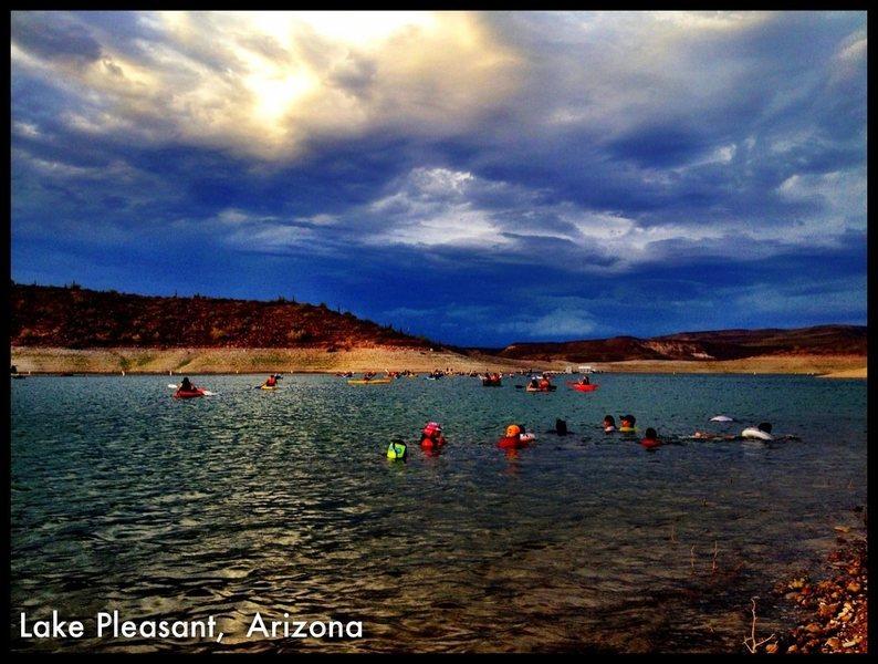 Rock Climbing Photo: Lake pleasant sunset